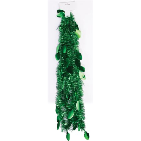 9 Green Christmas Tree Lightbulb Tinsel Garland Hanging Wall Decoration