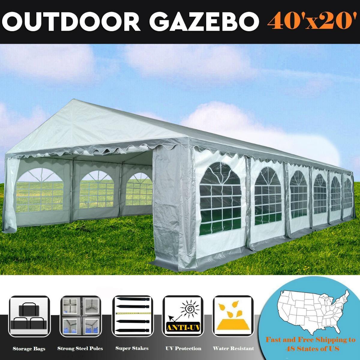 40'x20' PE Grey/White Tent - Heavy Duty Wedding Canopy Carport Shelter - By DELTA Canopies