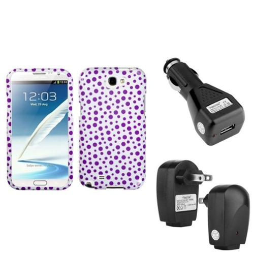 Insten Purple Polka Dots Hard Case+Car+Home Charger Adapter For Samsung Galaxy Note 2