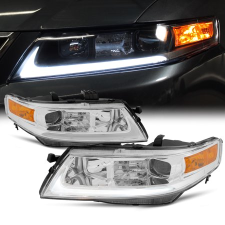 Fits 2004 2005 2006 2007 2008 Acura TSX LED Bar Projector Headlights Headlamps Acura Tsx Headlight Assembly