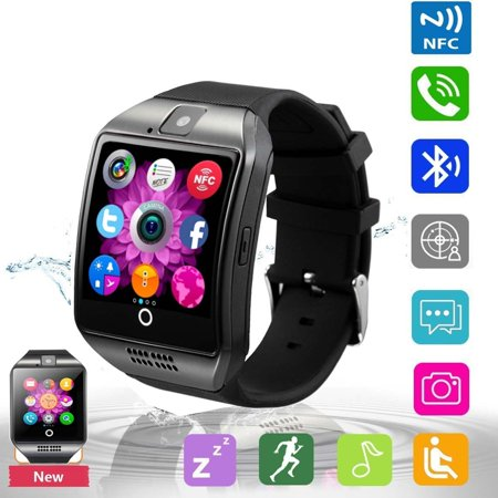 Bluetooth Smart Watch Phone Pandaoo Smart Watch Mobile Phone Unlocked Universal GSM Bluetooth 4.0 NFC Music Player Camera Calendar Stopwatch Sync for Android iPhone Google Huawei Smartphones (Black) (Avatar Phone Watch)