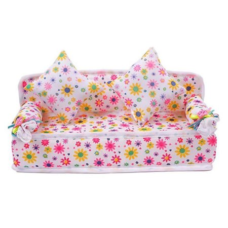 SUPERHOMUSE 1Pc Mini Sofa Play Toy Flower Print Baby Toy Plush Stuffed Furniture Sofa With 2x Cushions For Barbie Doll Couch Doll House Zebra Print Baby Doll