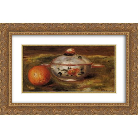 Pierre Auguste Renoir 2x Matted 24x16 Gold Ornate Framed Art Print 'Still Life with Orange and Sugar Bowl' ()