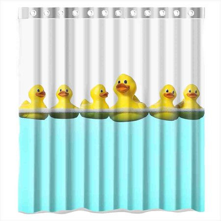 GreenDecor Rubber Duck In The Water Waterproof Shower Curtain Set with Hooks Bathroom Accessories Size 66x72 - Shower Duck