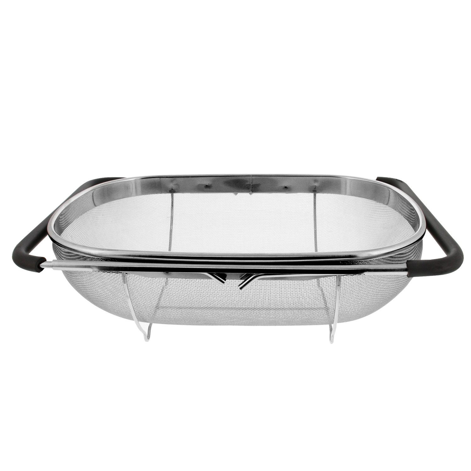 U.S. Kitchen Supply Over the Sink Deep Well Oval Stainless Steel Colander Fine Mesh w/ Extendable Handle