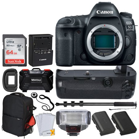 Canon EOS 5D Mark IV DSLR Camera (Body Only) + 64GB Memory Card + TTL Flash + Battery Grip + Vivitar Trolley Backpack Case + Monopod + LP-E6 Battery Replacement + Vivitar Holder - Top Accessory