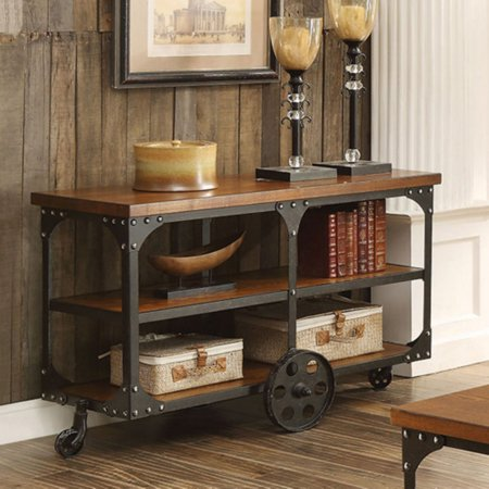 Coaster Furniture Industrial Sofa Table with Shelf and Casters