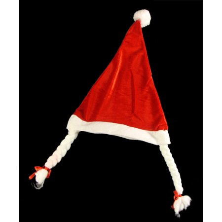 Club Pack of 144 Mrs. Santa Hats with Braided Pig Tails