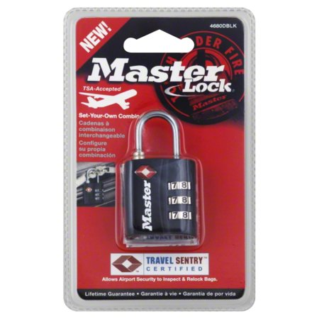 Master Lock 4680DBLK Steel Luggage and Briefcase Padlock, Side