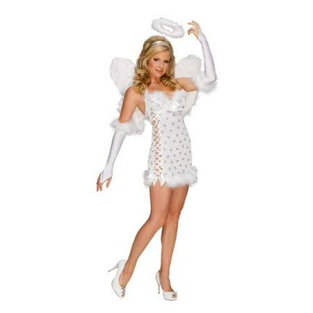 Womens White Sexy Playboy Angel Halloween Costume Dress, Halo, Wings Set XS-L (Angel Costume Womens)
