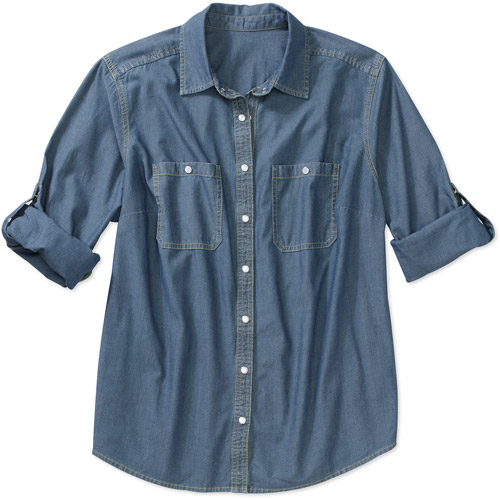 Faded Glory Women S Plus Size Chambray Shirt With Rolled