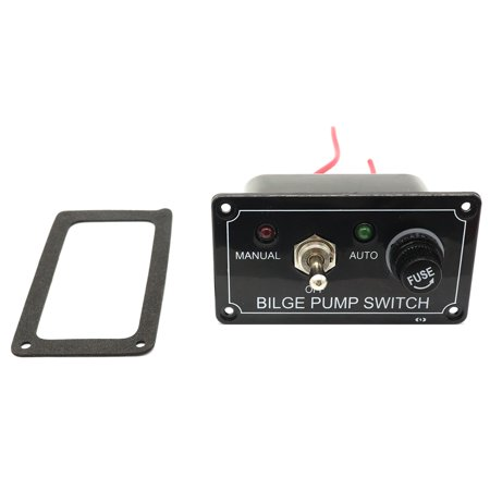 12V 3-Way Bilge Pump Switch Panel ON-OFF-ON Bilge Pump Switch Panel with Fuse (MANUAL - OFF- AUTO)