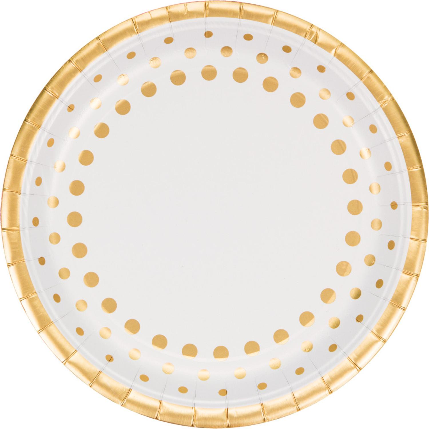Club Pack of 96 Sparkle and Shine Gold Disposable Plastic Party Banquet Dinner Plates 10""