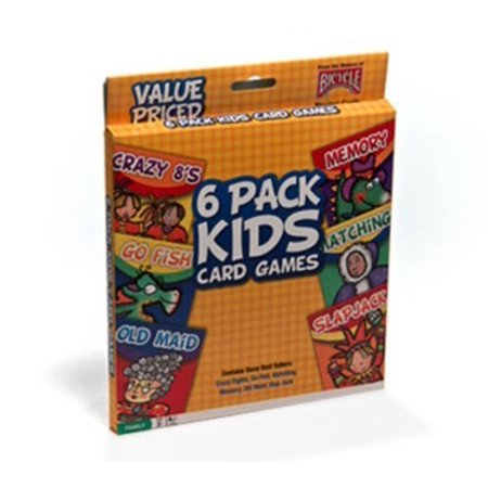 Bicycle 6 Pack Kids Playing Cards Games Go Fish Crazy 8's Old Maid Slapjack New By Beautiful_Store