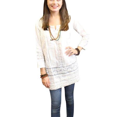Chudidar Kurta Dress - Mogul Bohemian Boho Chic White Tunic Beautiful Floral Embroidered Long Sleeves Ethnic Cotton Kurta Dress M