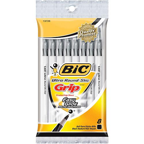 BIC Round Stic Grip Xtra Comfort Ball Pen, Medium Point (1.2mm), Black, 8 Count by BIC USA, Inc.