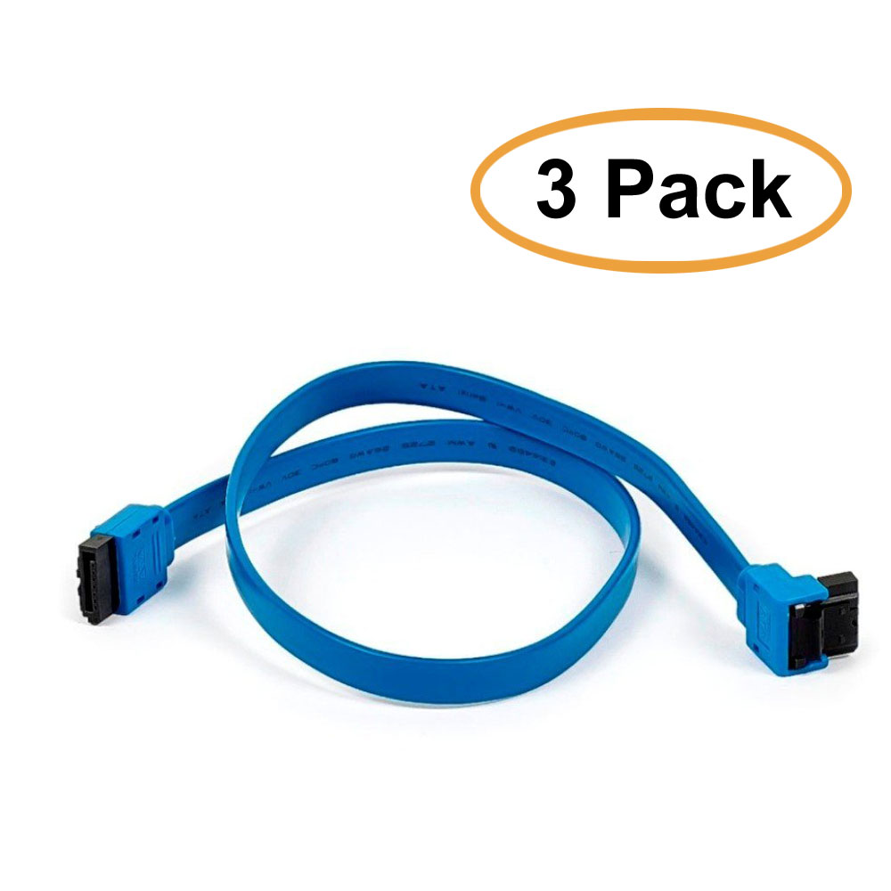 3 Pack, 18 inch SATA 6Gbps Cable w/ Locking Latch ((90 Degree to 180 Degree),) Blue