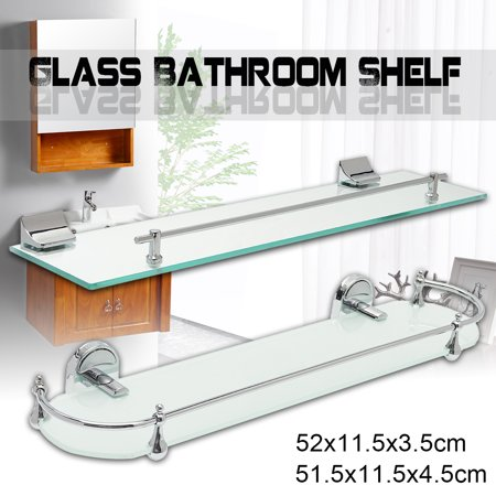 Mounting Bathroom Glass Shelf with Chrome Finish and Rail Rectangle/Ellipse Modern Bath Shelf Organizer Wall Mounted 20.5 X 4.5 inch ()