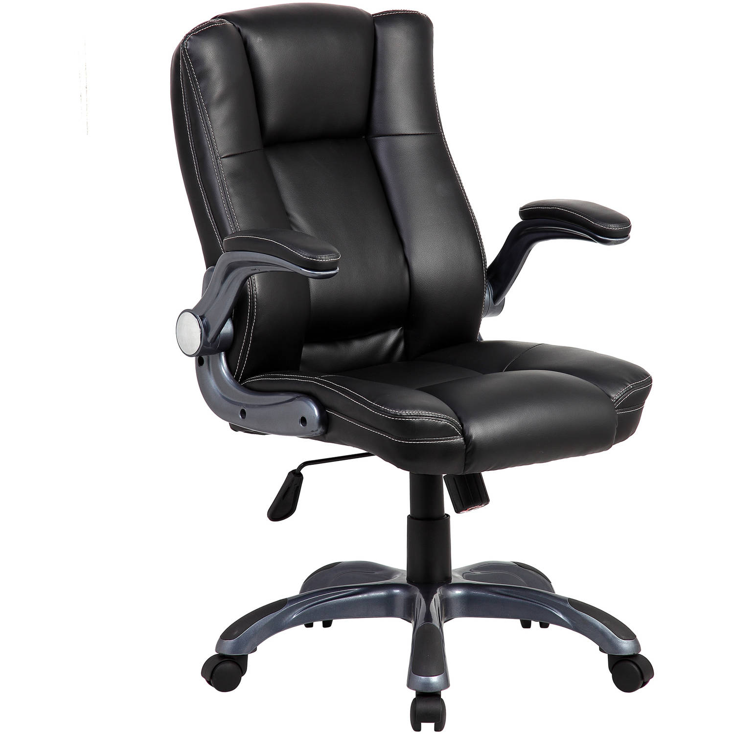 Modern Furniture Mid-Back Modern Computer PU Leather Office Executive Chair with Thick-Padded Back and Seat, Adjustable Armrests
