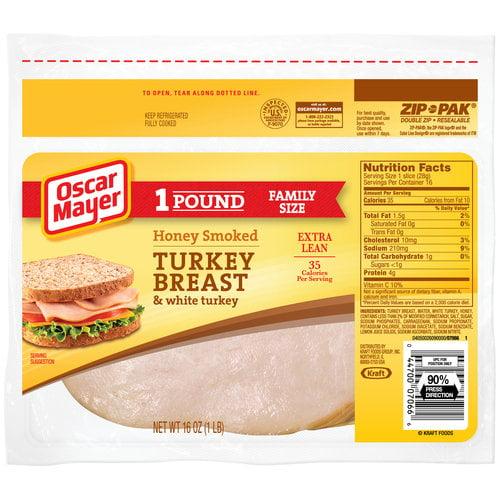 Oscar Mayer Sliced Honey Smoked Turkey Breast & White Turkey, 16 oz