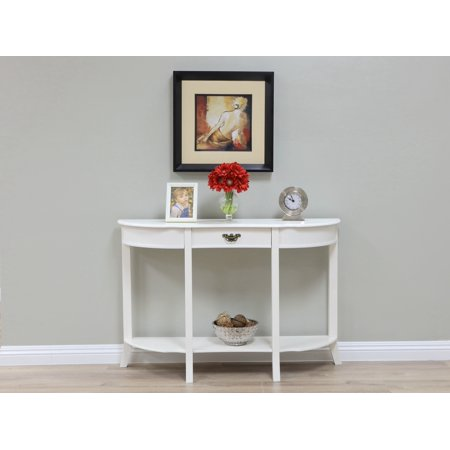 Home Craft White Condole Table with One Drawer ()