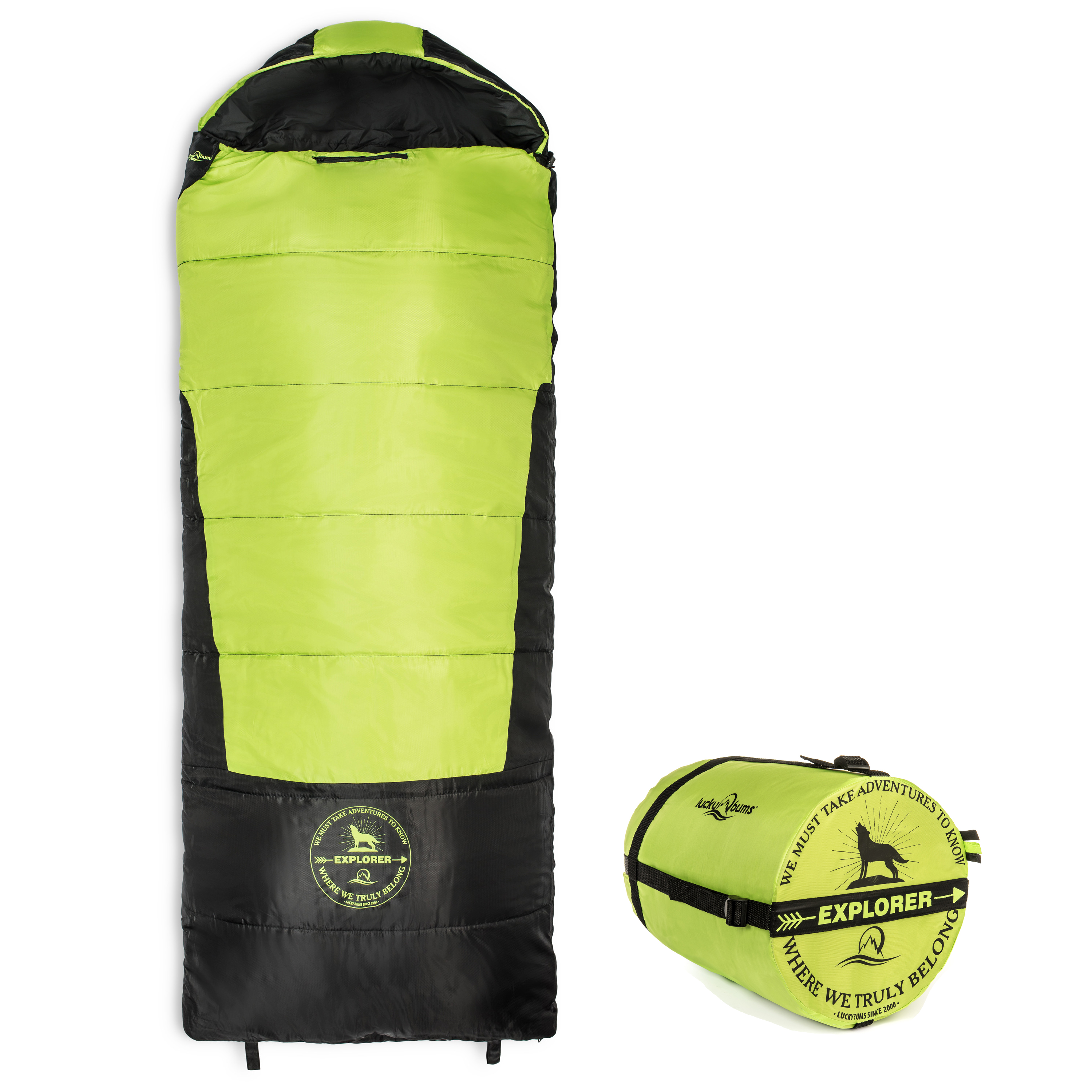 Lucky Bums Youth Explorer 30F/-1C Temperature Rated Envelope Style Sleeping Bag, Compressing Carry Bag Included, Blue