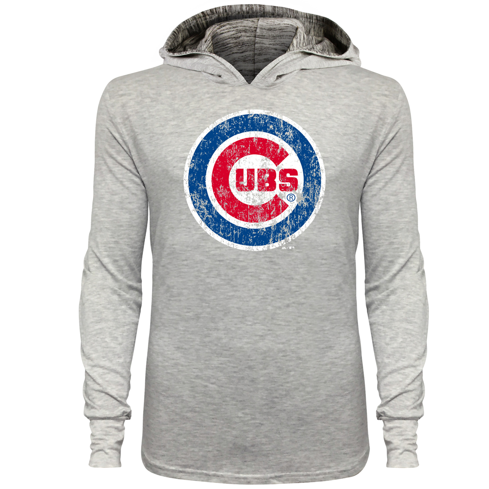 Chicago Cubs Majestic Threads Pullover T-Shirt with Marble Hood - Gray
