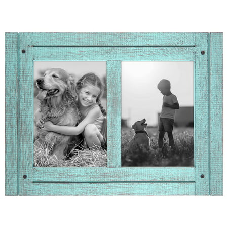 5x7 Turquoise Collage Distressed Wood Frame - Display Two 5x7 Photos