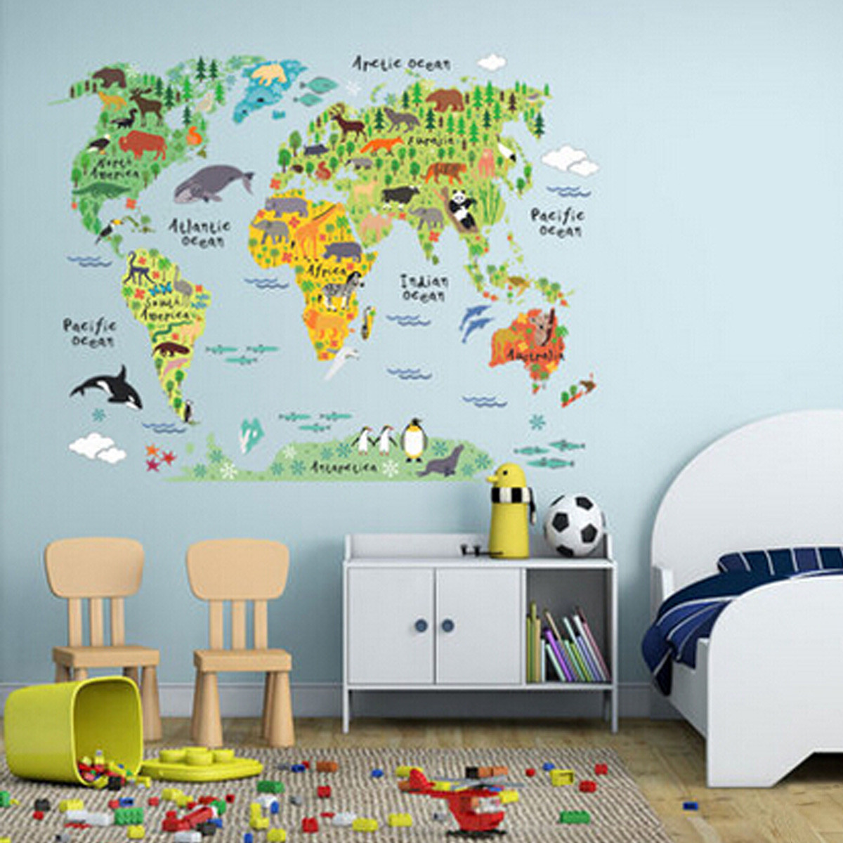 1.97x2.95ft Colorful World Map Kids Room Office Wall Sticker Wallpaper Decals  Nursery Home Decor   Walmart.com