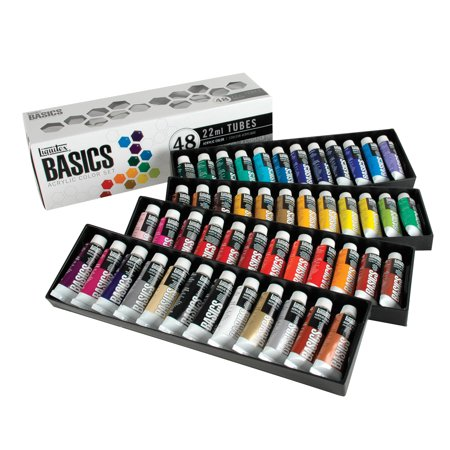 Basics Matt Acrylic (Liquitex BASICS Acrylic Paint Set, 0.74 Ounce Tubes, Assorted Colors, Set of 48 )