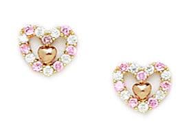 14k Yellow Gold Pink Cubic Zirconia Heart Screw-Back Earrings Measures 7x7mm by