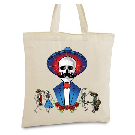 Awkward Styles - Awkward Styles Mustache Skull Tote Bag Mexican Skull Canvas Tote Bag Funny Day