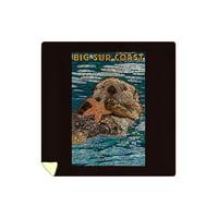 Big Sur, California - Coast - Sea Otter - Mosaic - Lantern Press Artwork (88x88 Queen Microfiber Duvet Cover)