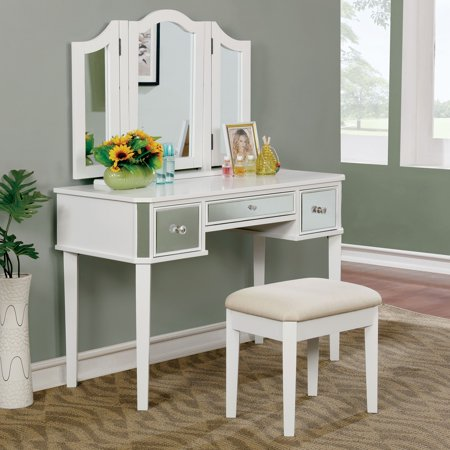 Furniture of America  Doa Contemporary Solid Wood 2-piece Vanity Set Solis Wood Vanity Cabinet
