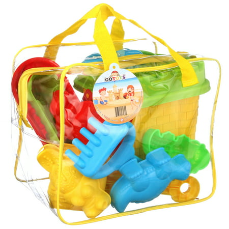 FoxPrint Beach Sand Toys – Bucket Shovels Rakes – 16 pc Set