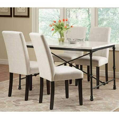 ramiro dark rustic metal with marble like table top 5 piece dining set