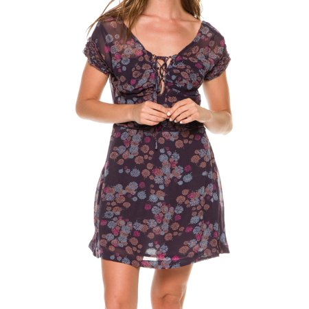 Free People NEW Purple Womens Size 0 Floral-Print Lace Up Sheath - Cool People To Dress Up As