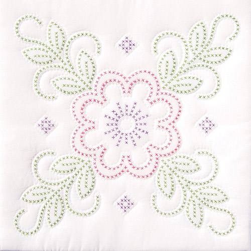 "Jack Dempsey Floral Design Stamped White Quilt Blocks, 18"" x 18"""