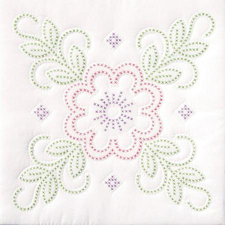 Jack Dempsey Floral Design Stamped White Quilt Blocks, 18