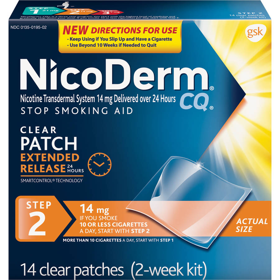 NicoDerm CQ Step 2 Stop Smoking Aid Nicotine Patch, 14mg, 14 Clear Patches