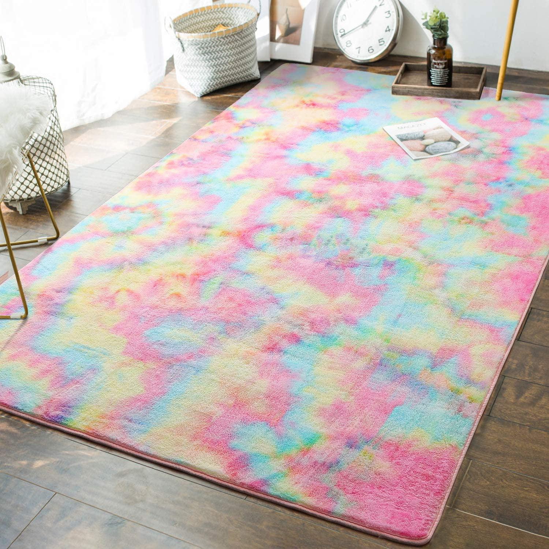 lochas soft girls room rugs fluffy rainbow area rug for