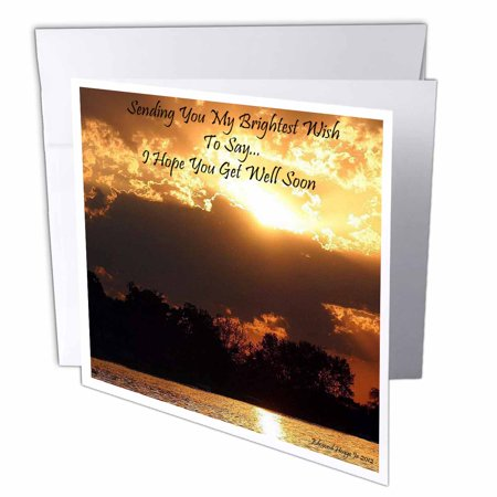 3dRose Golden Sunset Get Well Soon, Greeting Cards, 6 x 6 inches, set of