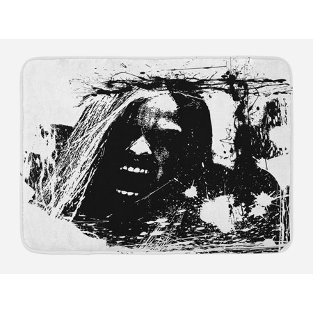 Zombie Bath Mat, Artistic Horror Sketch of a Crazy Man in Pain Screaming Portrait Evil Style Display, Non-Slip Plush Mat Bathroom Kitchen Laundry Room Decor, 29.5 X 17.5 Inches, Black White, Ambesonne - Screaming Doormat