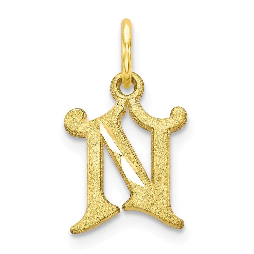 10k Yellow Gold Initial N Pendant