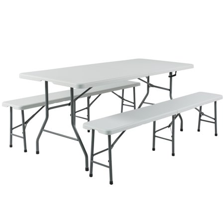 Best Choice Products 3-Piece 6ft Portable Folding Weather-Resistant Resin Table and Bench Set Combo w/ Carrying Handles, Rubber Foot Caps for Picnic, Home, Commercial Use - White (6ft Almond Folding Table)