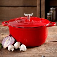 The Pioneer Woman Timeless Beauty 5 Quart Dutch Oven with Bakelite Knob and Stainless Steel Butterfly Knob