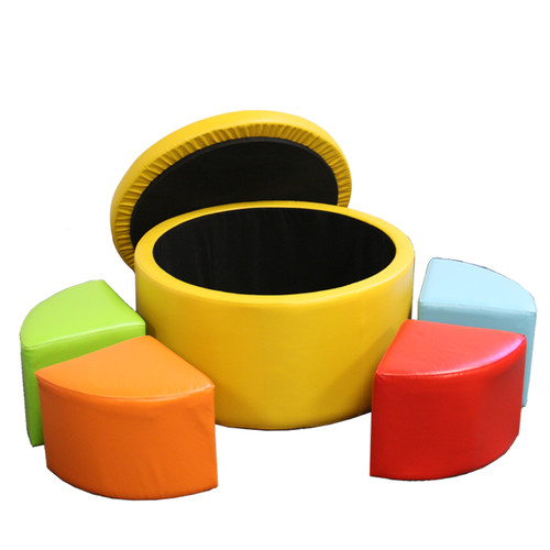 "13.5"" Yellow Storage Ottoman with 4 Seating"