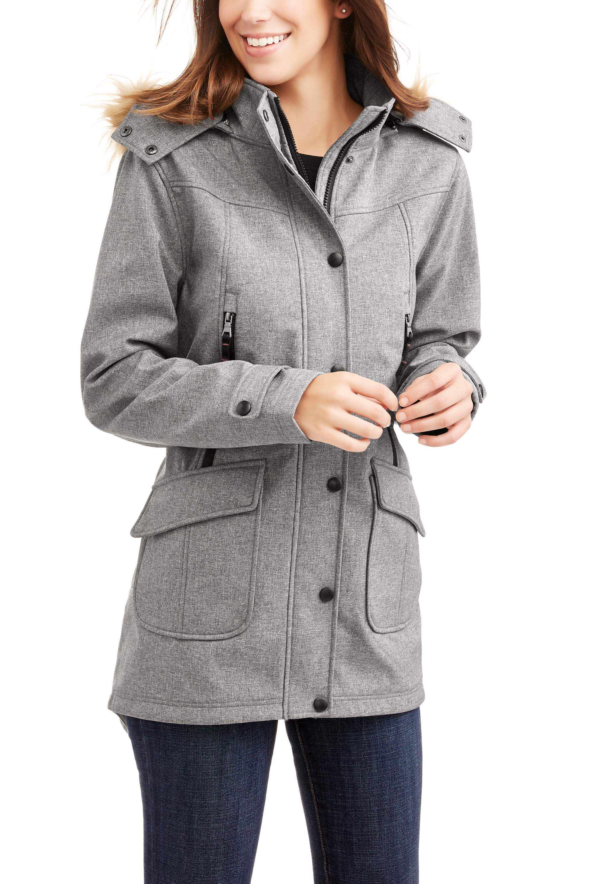 Women's Yarn Dye Soft Shell Parka With Faux Fur Trim Hood by