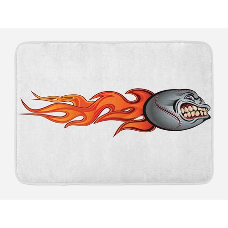 Sports Bath Mat, Flaming Angry Baseball Aggressive Scream Teeth Mean Scary Image Graphic Artwork, Non-Slip Plush Mat Bathroom Kitchen Laundry Room Decor, 29.5 X 17.5 Inches, Gray Orange Red, Ambesonne - Screaming Doormat