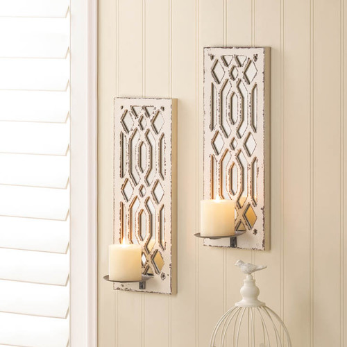 Zingz and Thingz Wooden Designed Wall Sconce Pair (Set of 2) by Zingz & Thingz